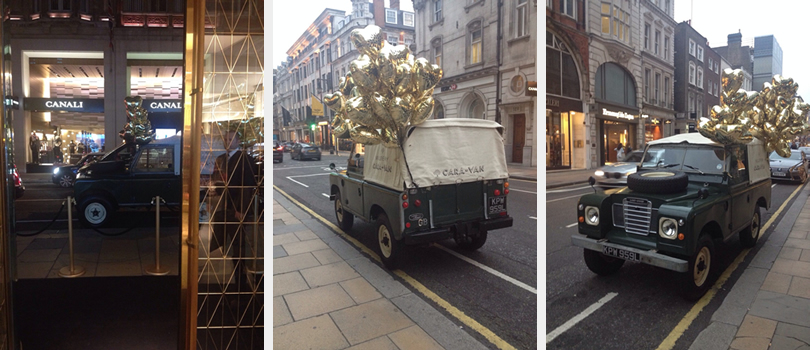 Our dark green Land Rover 3 Series with ribbons and balloons attached at the Mulberry Handbag Launch in London, Bond Street.