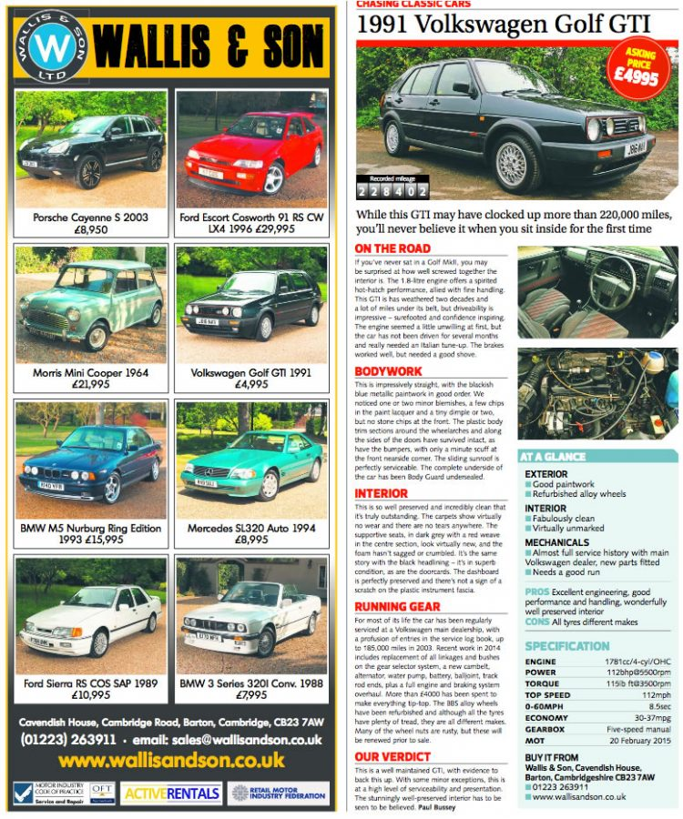 A magazine article showing off some of the vehicles Wallis and Son has for sale