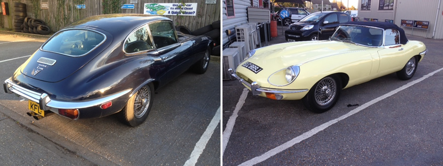 Jaguar E Types in for repairs.