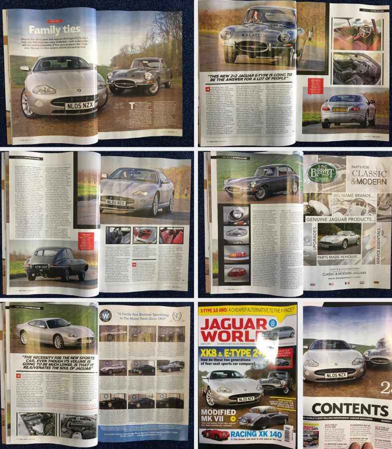 Images of snippets taken from the Jaguar World magazine featuring our Jaguar V8 XKR & XK8s