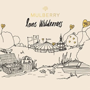 a sketch of a cartoon campsite with the text Mulberry Loves Wilderness at the top.