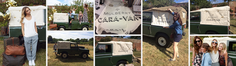 Multiple images of our Land Rover being featured with models shooting for the Mulberry Handbag collection.