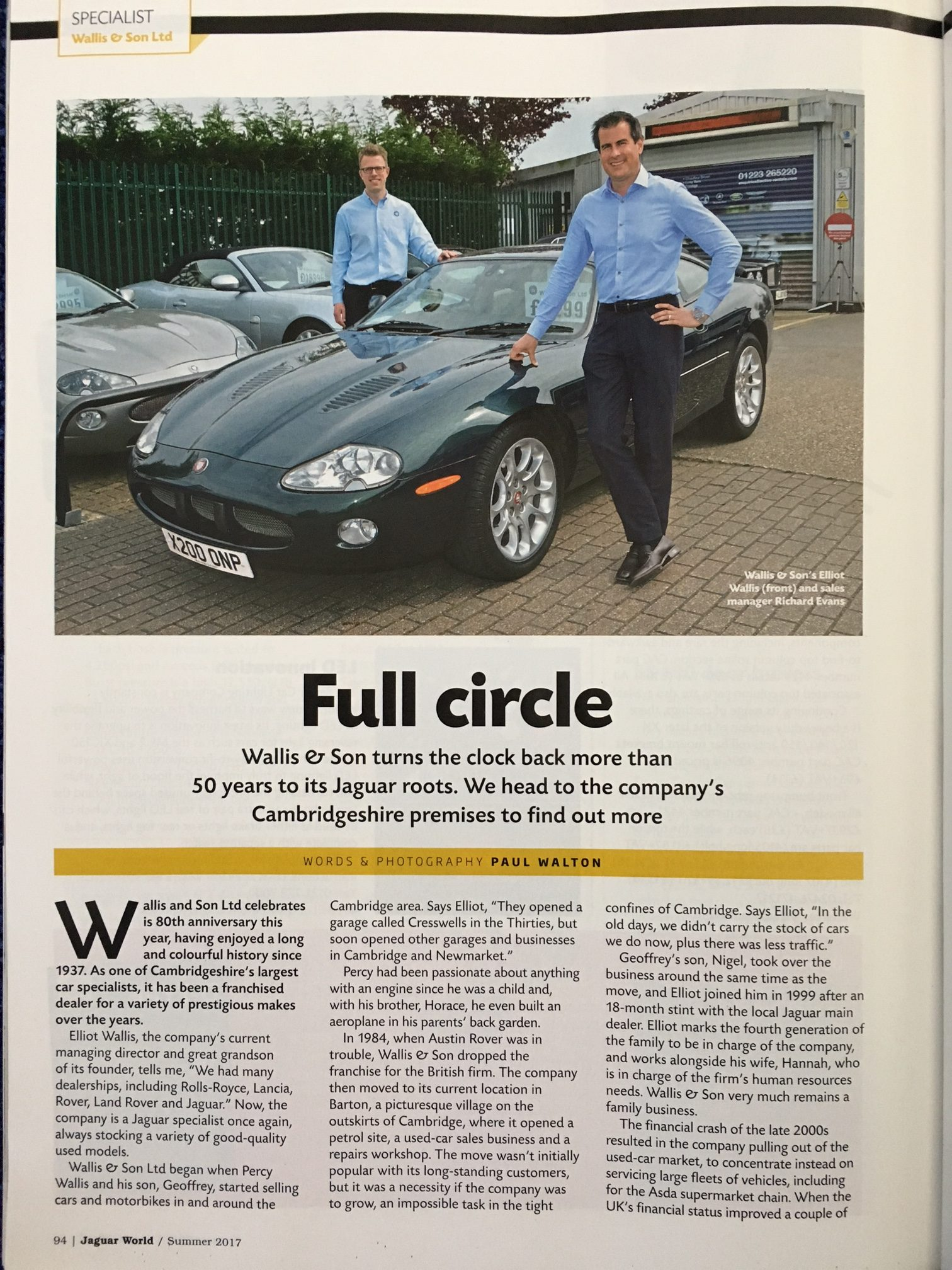 Jaguar World article On Wallis and son Ltd Jaguar Specialist In Cambridge Elliot Wallis and Richard Evans
