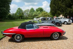 Classic Cars at Barrington Wedding Festival Red Jaguar E type Grey Jaguar e type Daimler 15