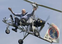 Ken flying again with no hands as he often did to show how stable the auto gyro was