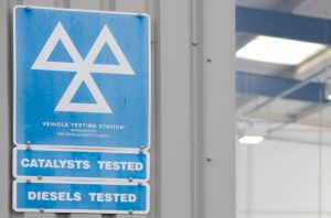 MOT Test Station Sign out side garage ready for customers to see we do MOTs on both Petrol and Diesel cars