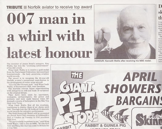Image of a press article with Kenneth Wallis winning a medal.