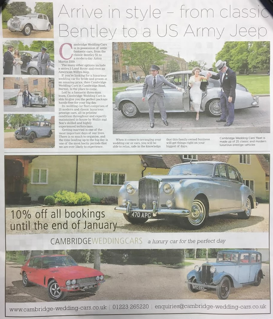 An image of Cambridge Wedding Cars Bentley S! in the Cambridge Independent paper.